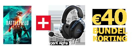 Koop Battlefield 2042 samen met de HyperX Alpha S headset en ontvang 40 euro bundelkorting