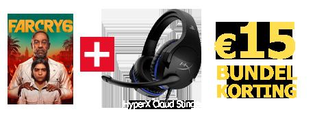 Koop Far Cry 6 samen met de HyperX Cloud Stinger headset en ontvang 15 euro korting