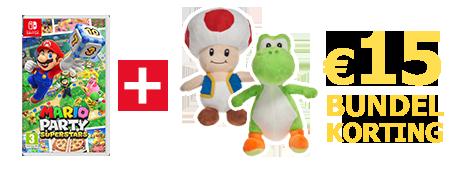 Koop Mario Party Superstars samen met een knuffel van Toad of Yoshi en ontvang 15 euro bundelkorting