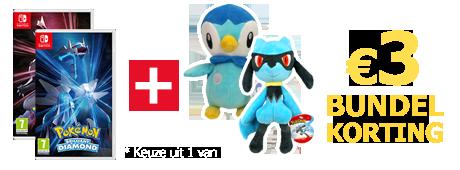 Koop Pokemon Brilliant Diamond of Shining Pearl samen met een knuffel van Riolu of Piplup en ontvang 3 euro bundelkorting