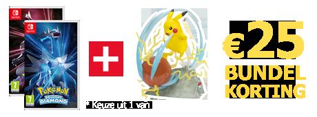 Koop Pokemon Brilliant Diamond of Shining Pearl samen met een statue van Pikachu en ontvang 25 euro bundelkorting