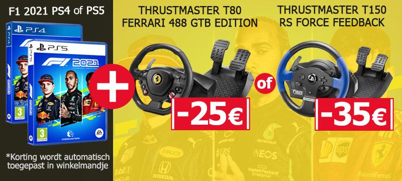 Koop F1 2021 voor PS4 of PS5 samen met een van deze steering wheels en ontvang 25 of 35 euro korting!