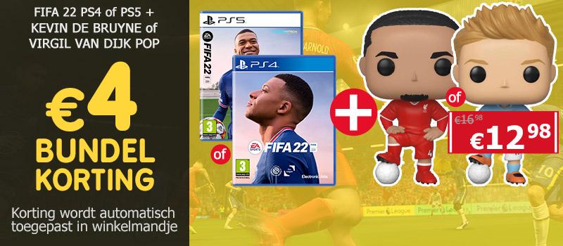 Koop FIFA 22 samen met de Funko Pop van Kevin de Bruyne of Virgil van Dijk en ontvang 4 euro bundelkorting