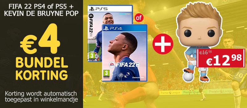 Koop FIFA 22 samen met de Funko Pop van Kevin de Bruyne en ontvang 4 euro bundelkorting