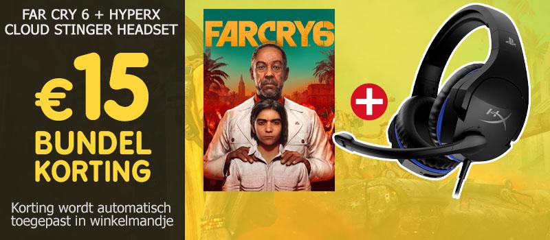 Koop Far Cry 6 voor PS4, PS5 of Xbox samen met een HyperX Cloud Stinger Headset en ontvang 15 euro bundelkorting!