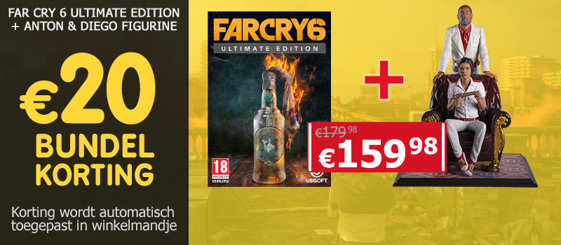 Koop Far Cry 6 Ultimate Edition samen met de figurine van Anton & Diego en ontvang 20 euro bundelkorting