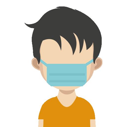 Icoon van een persoon met een mondmasker