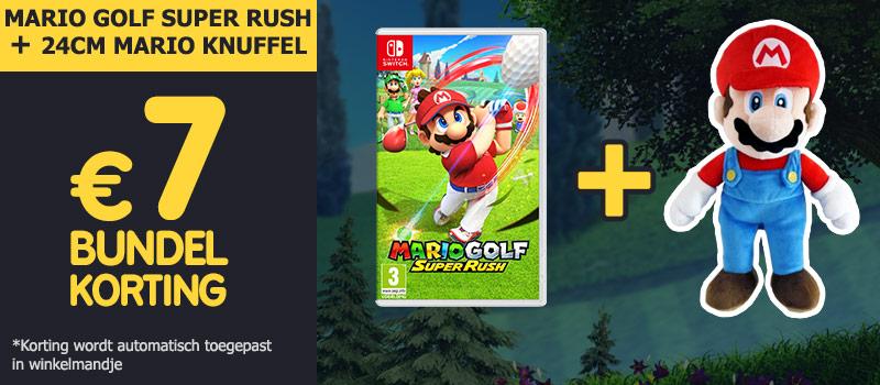 Koop Mario Golf Super Rush samen met een 24cm Mario knuffel en ontvang 7 euro bundelkorting