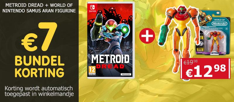 Koop Metroid Dread voor Nintendo Switch en ontvang 3 euro bundelkorting op de World of Nintendo Samus Action Figurine!