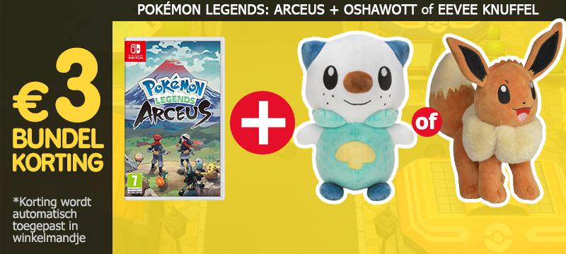 Bestel Pokémon Legends Arceus samen met een knuffel van Oshawott of Eevee en ontvang 3 euro bundelkorting!
