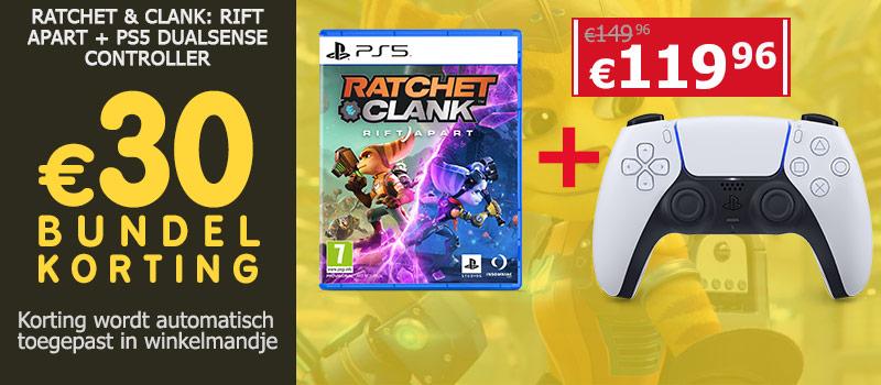 Koop Ratchet & Clank Rift Apart samen met een PS5 DualSense Controller en ontvang 30 euro bundelkorting