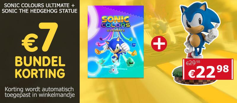 Koop Sonic Colours Ultimate voor PS4, Xbox of Nintendo Switch en ontvang 7 euro bundelkorting op een Sonic statue