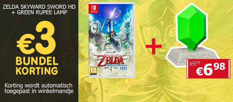 Koop The Legend of Zelda Skyward Sword HD samen met een Groene Rupee Lamp en ontvang 2,98 euro bundelkorting