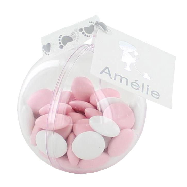 Wit en roze doopsuiker in mooie verpakking.