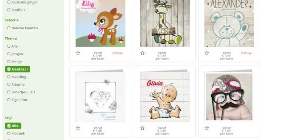Geboortekaartjes online personaliseren en bestellen.