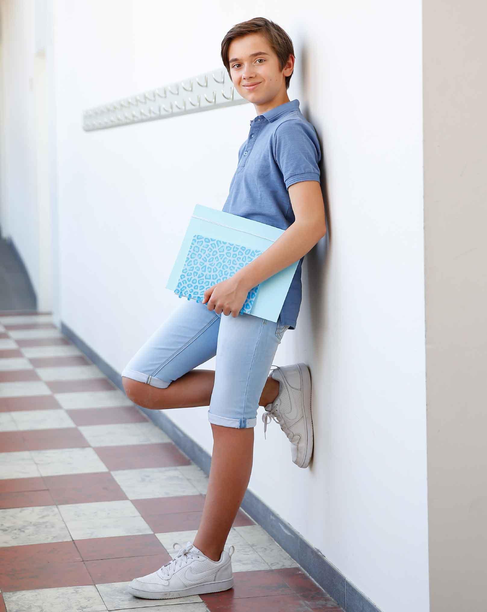 schoolspullen in blauw pastel