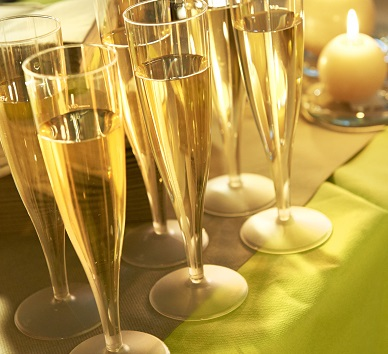 Plastic champagneglazen  die niet breken.