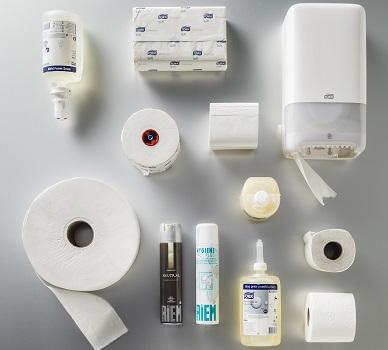 Zeep, dispensers, luchtverfrissers, toiletpapier voor sanitair.
