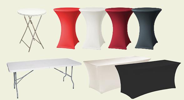 Vouwbare tafels en feesttafels om extra plaats te geven.