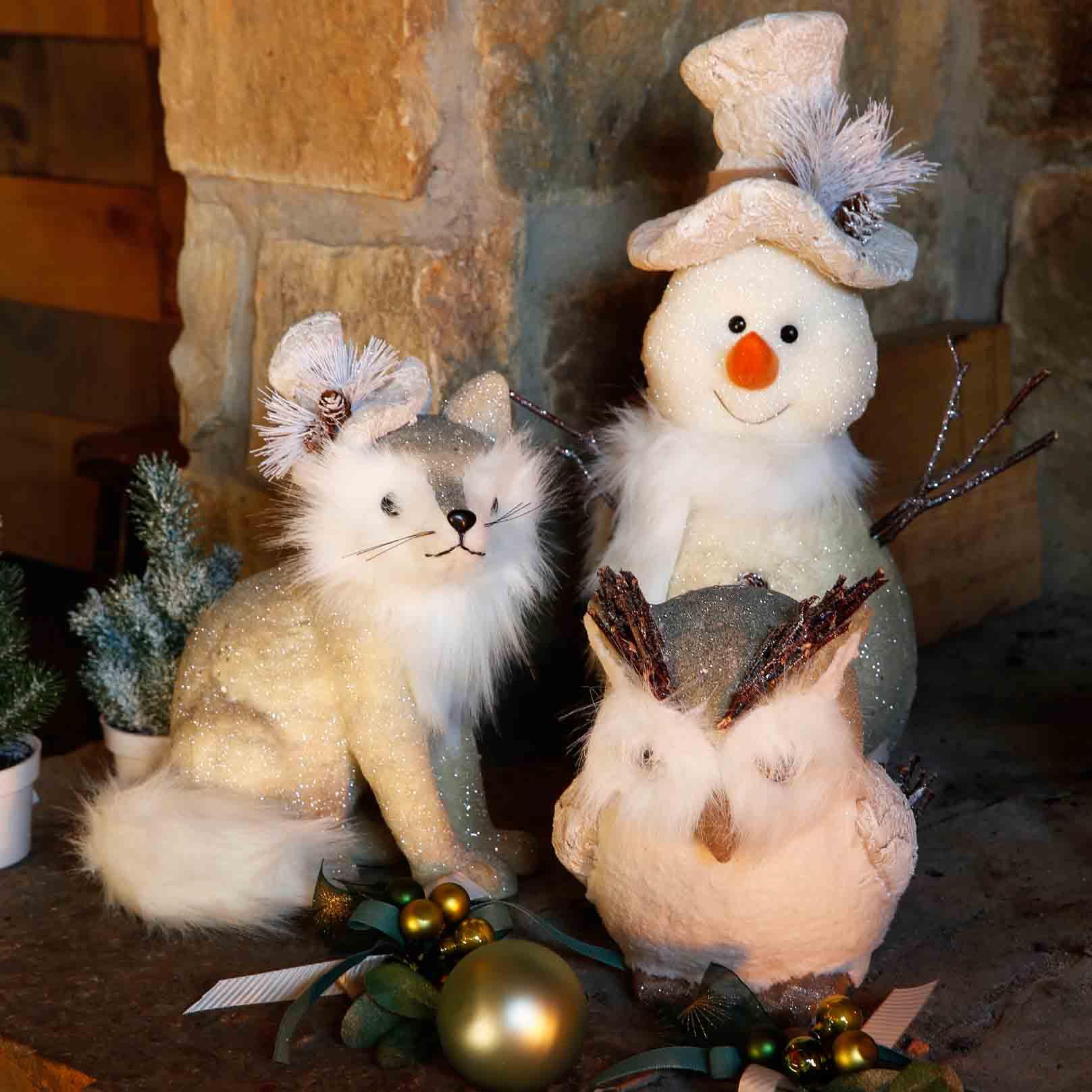 sneeuwman, uil en vos