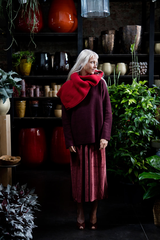 Standalone dress, Zenggi cashmere knit, A.P.C. bright red knit