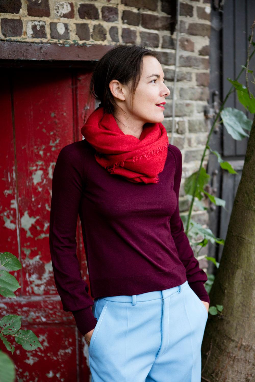 faliero sarti alexia scarf, forte_forte knit and joseph pants