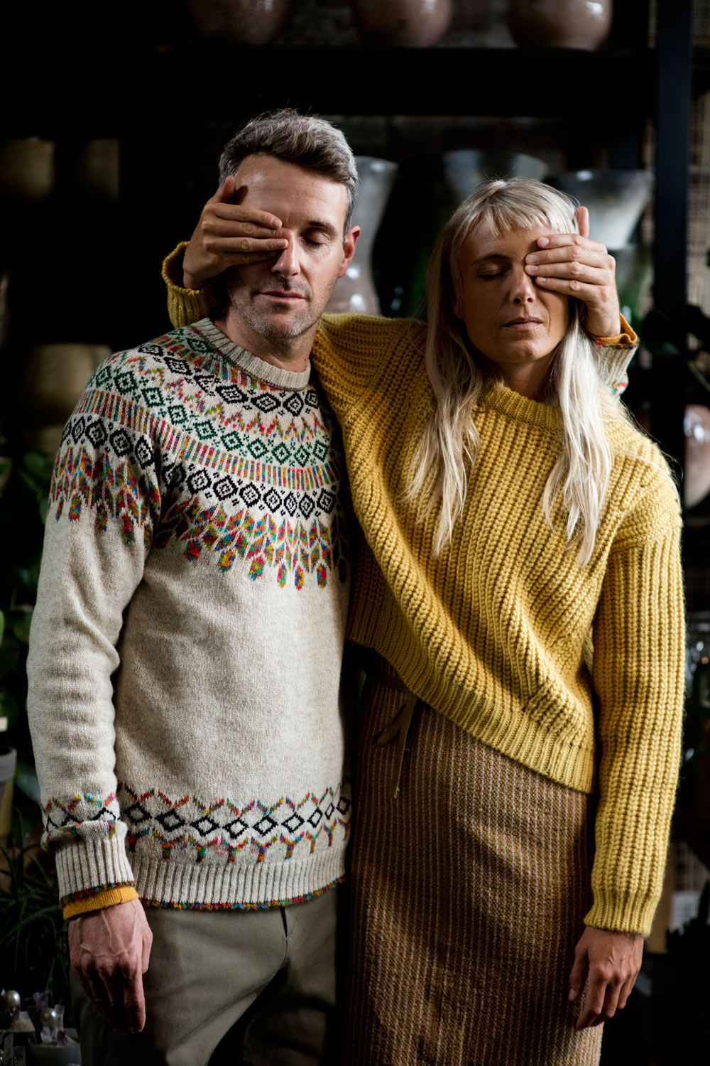 Marie is wearing Acne Studios knit and Humanoid dress, Piet is wearing Roberto Collinq and Homecore knit, and A.P.C. pants