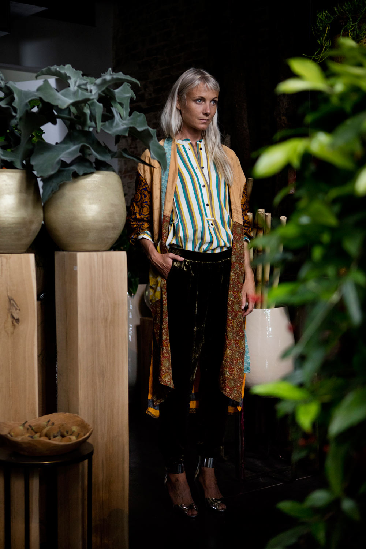 Isabel Marant Étoile blouse, Sissel Edelbo kimono, Roberto Collina pants