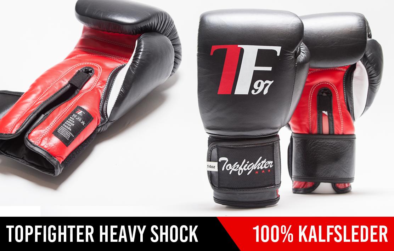 De Topfighter Bokshandschoenen Heavy Shock zijn al jaren op rij onze best verkochte bokshandschoenen
