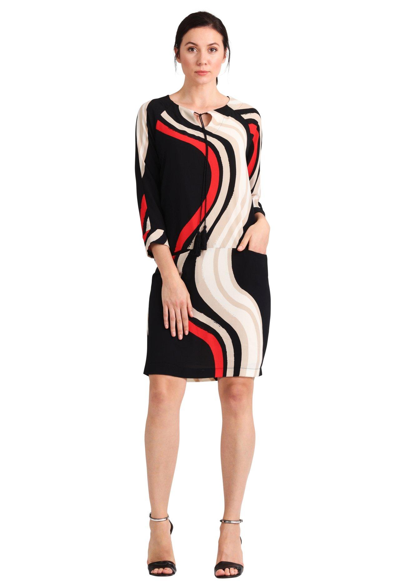 Apart - printed summer dress red black beige