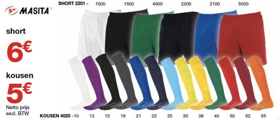 Masita shorts en kousen voor voetbalteams - Sportline