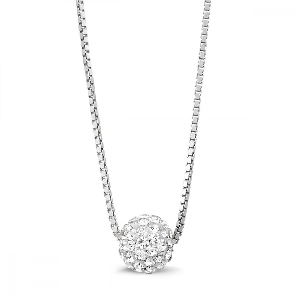 collier fin en argent maille v nitienne avec une perle de 7mm incrust e de cristaux blancs. Black Bedroom Furniture Sets. Home Design Ideas
