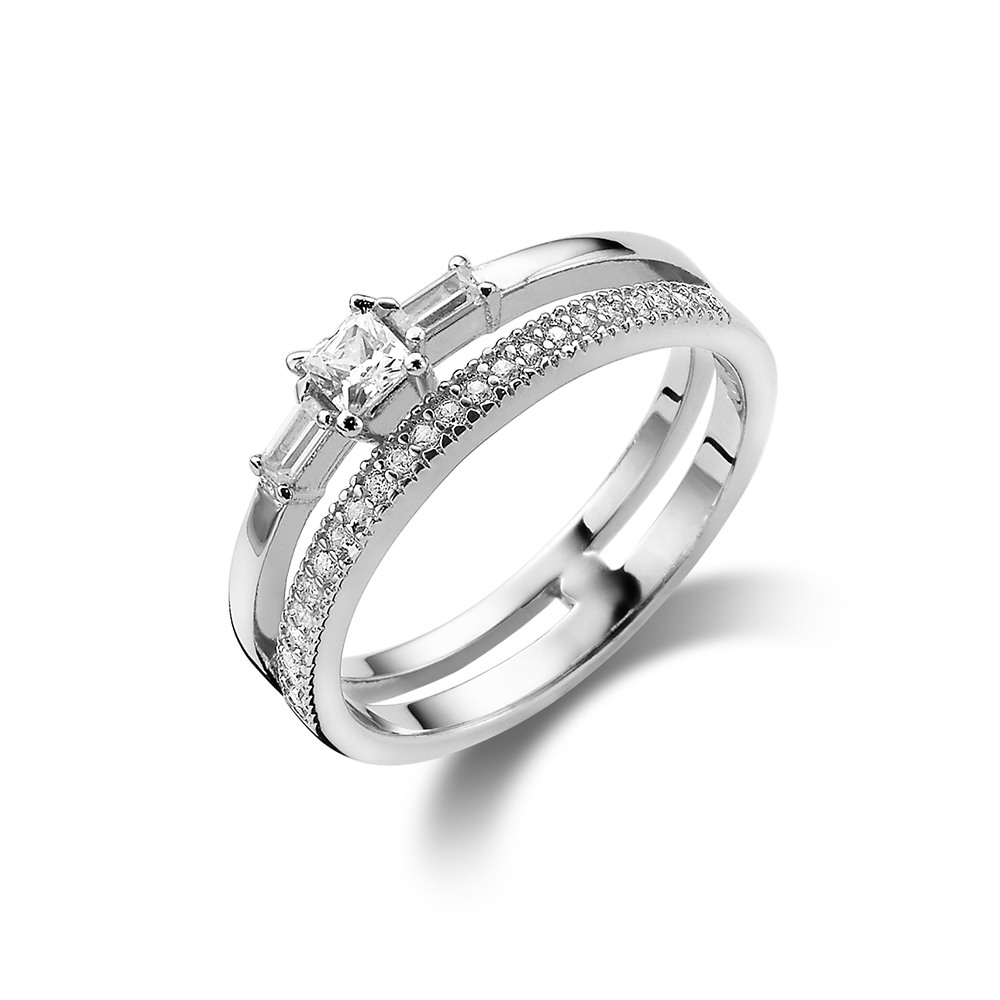 silver ring, double ring with zirconia