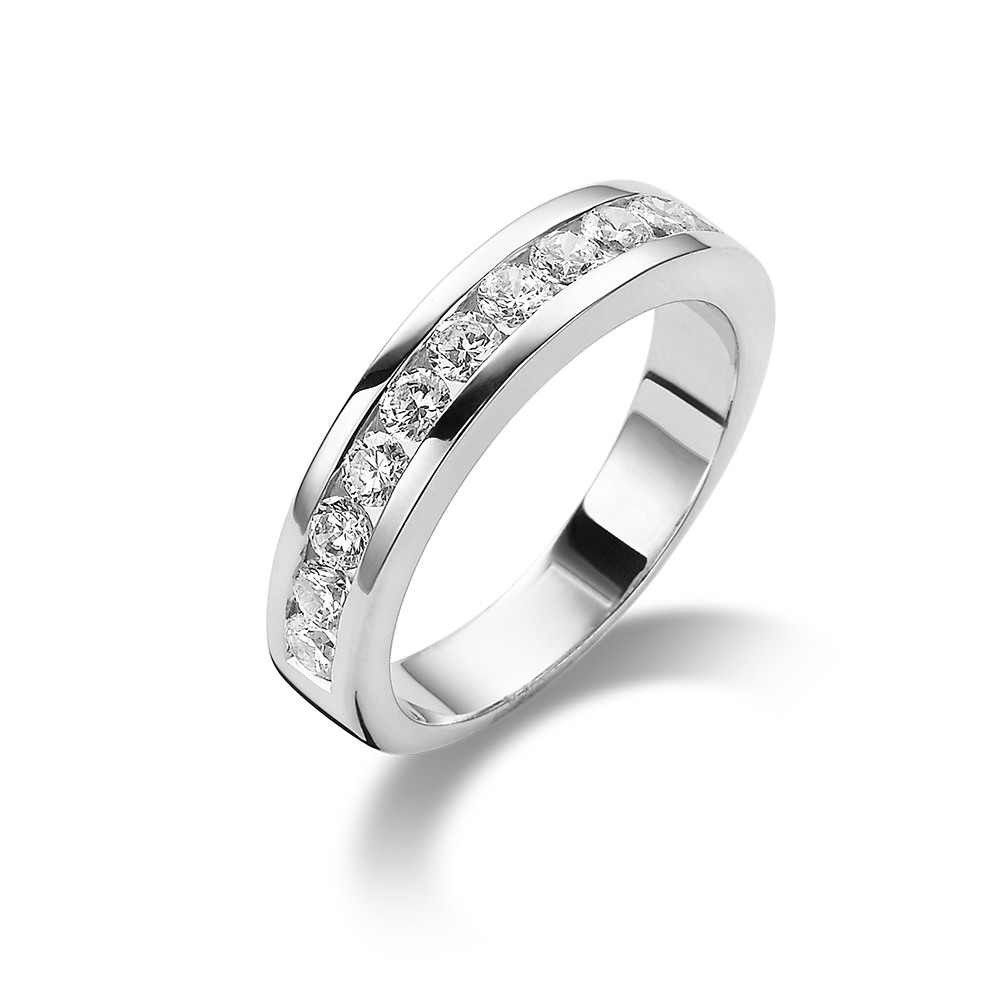 silver ring, wedding ring with 13 zirconia