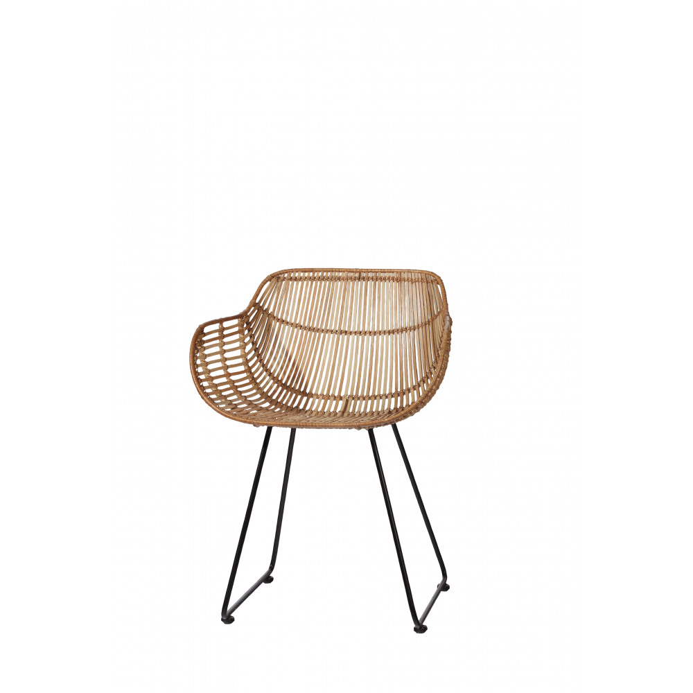 sun - fauteuil - rotin/metal - naturel/noir - 55x53x73 cm