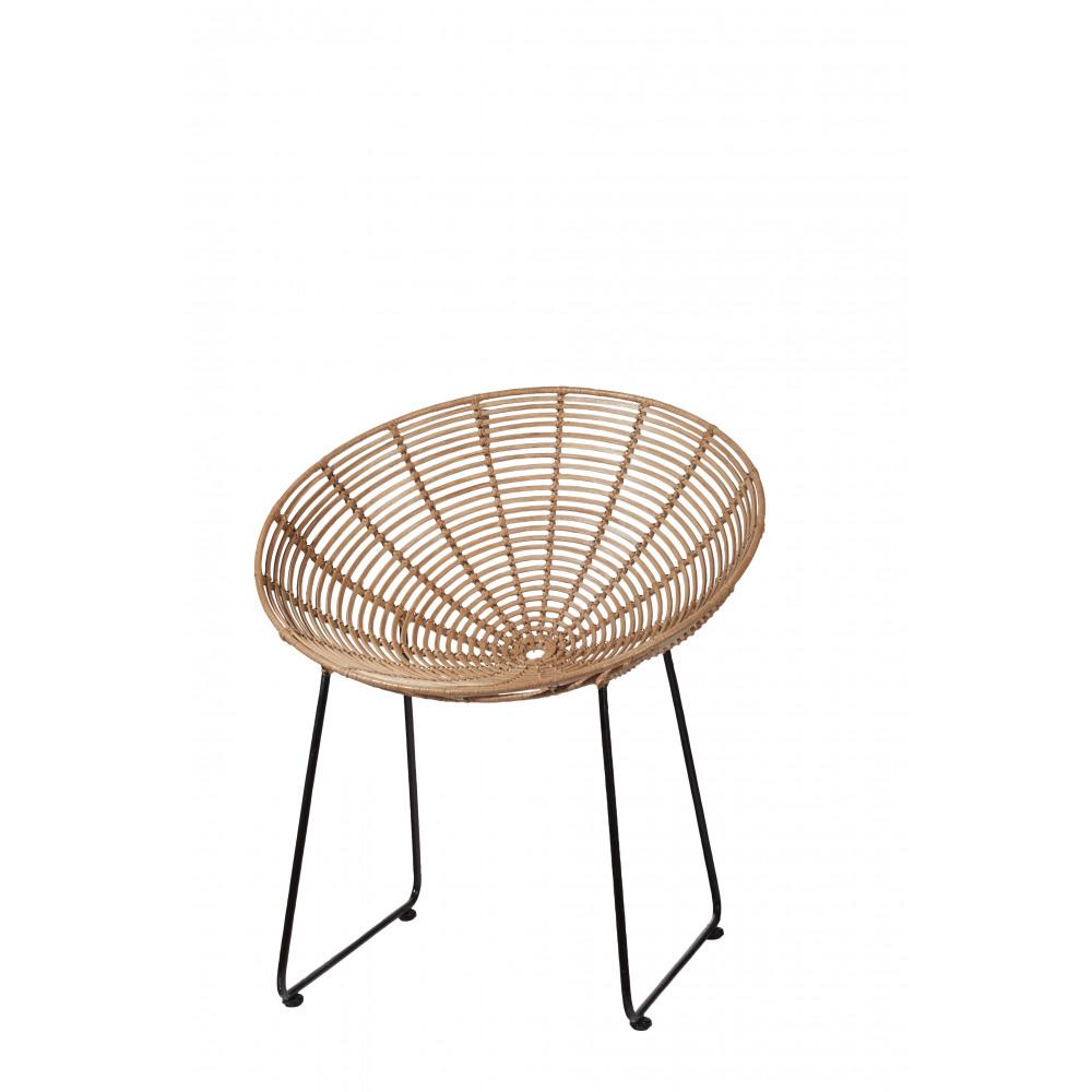 sun - fauteuil - rotin/ metal - naturel/ noir - 71x73x78cm