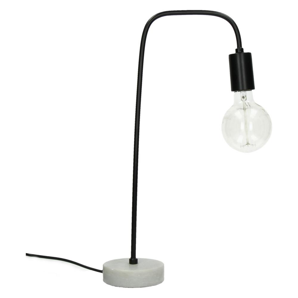 Izzy Lampe Marbre Metal Noir 21x13x49cm