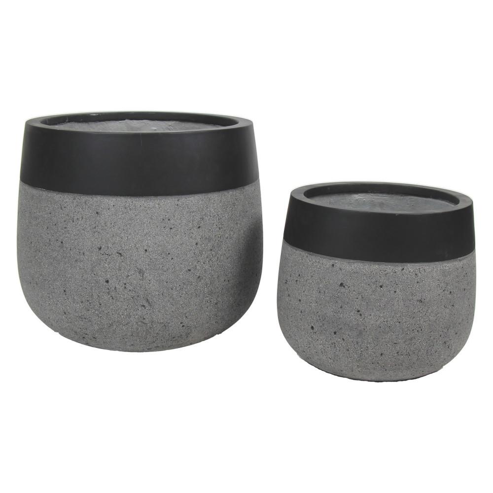 City 39 zen set 2 cache pots pierre reconstitu e gris - Cache pot beton ...