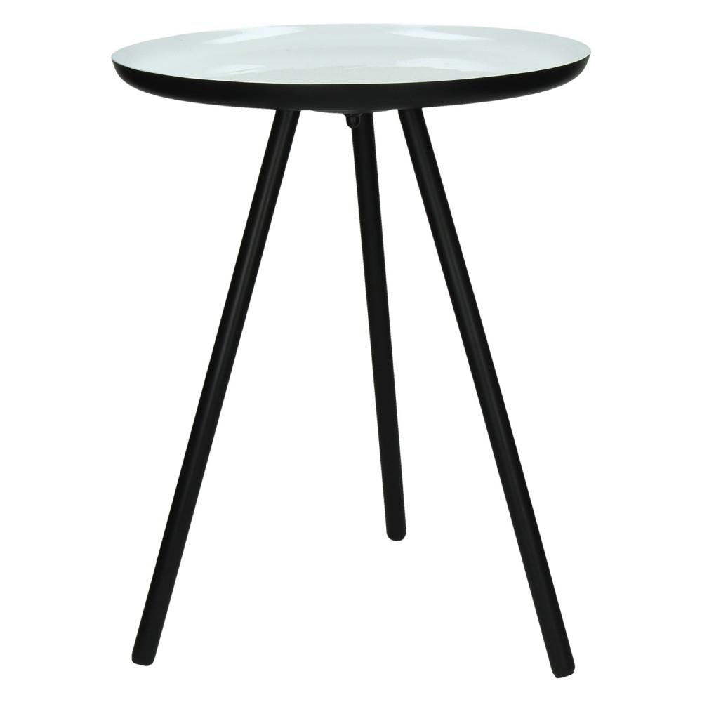 calderos bout de canap pieds m tal noir plateau maill blanc s 47 x 36 cm. Black Bedroom Furniture Sets. Home Design Ideas