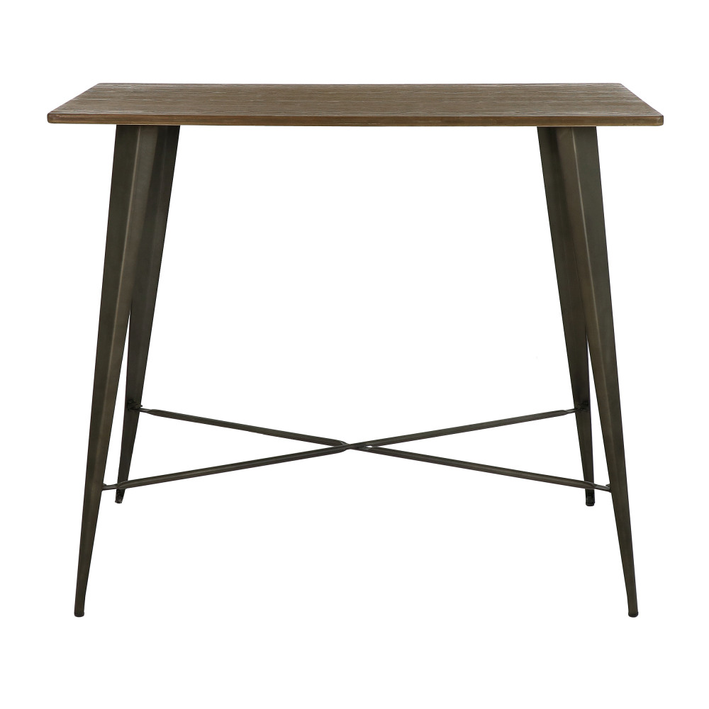 TILO - bar table - metal / bamboo - L 120 x W 60 x H 105 cm ...