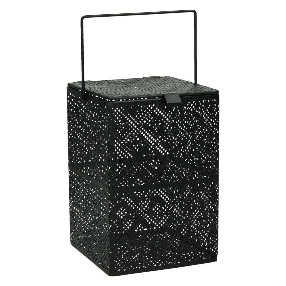 kubiko lanterne verre m tal noir m 12x12xh18 cm. Black Bedroom Furniture Sets. Home Design Ideas