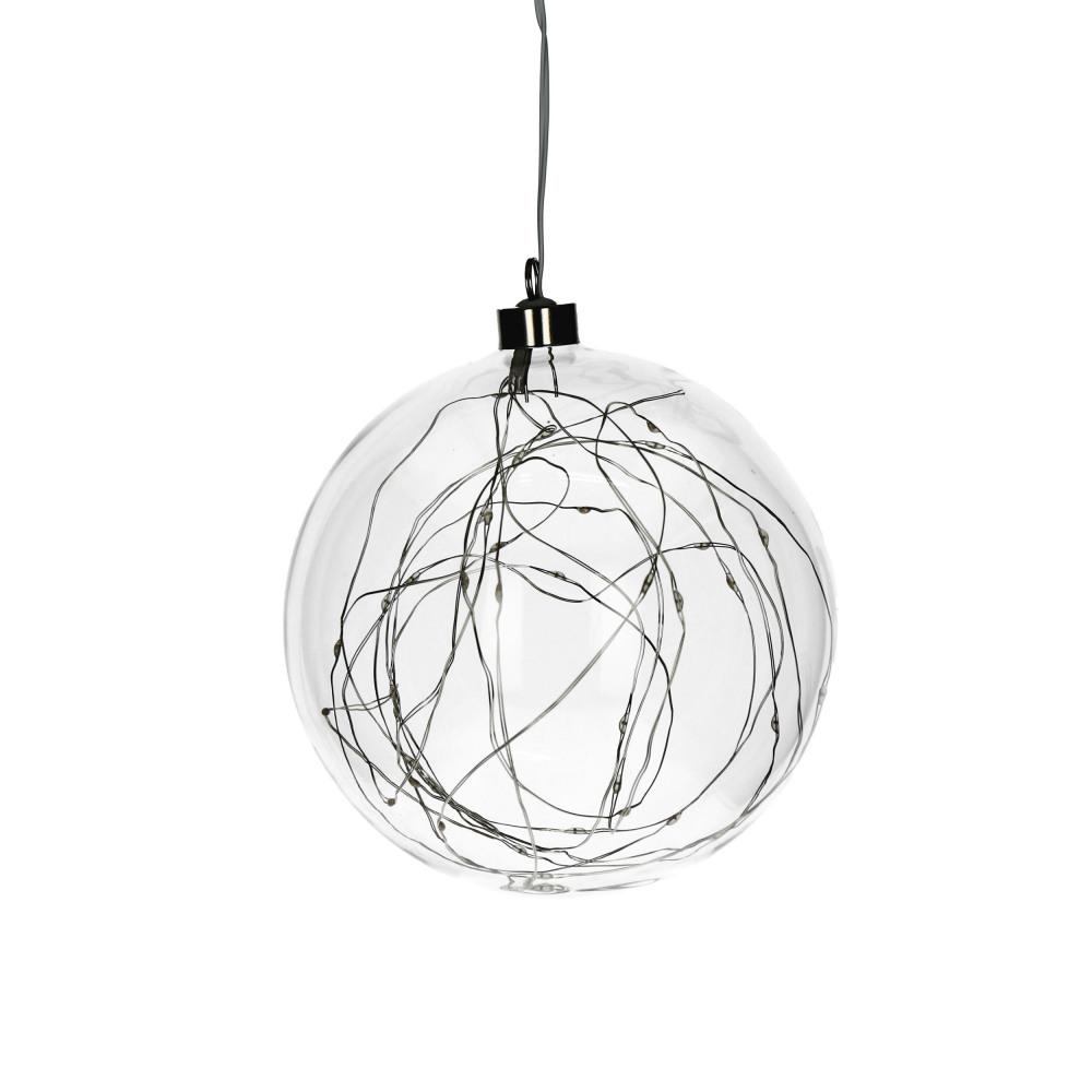 Glitter Bol Met Kerstverlichting 40leds Glas Transparant M