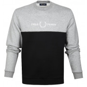 Fred Perry - Sweater Grijs Zwart Logo 1902-M7519 - Sweater Heren