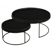 Round Tray Table Set Low XL - ø 93 x 38 cm & ø 62 x 31 cm