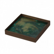 Malachite Organic Glass Tray - 16 x 16 x 3 cm