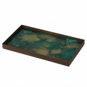 Malachite Organic Mini Glass Tray Medium - 31 x 17 x 3 cm