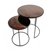Bronze Nesting Side Table Set - Heavy Aged - ø 56 en 69cm