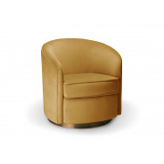 Swivel Armchair - Gold velvet - 74x76x76