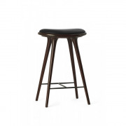 High Stool  - Dark Stained Solid  Oak - Black leather seat - 45 x 36 x 74 cm
