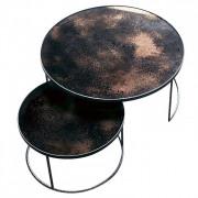 Bronze Nesting Coffee Table Set - Heavy Aged - ø 61 en 92cm